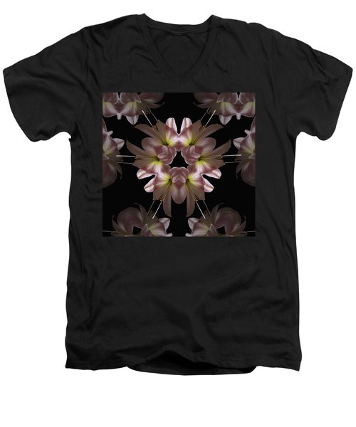 Men's V-Neck T-Shirt featuring the digital art Mandala Amarylis by Nancy Griswold