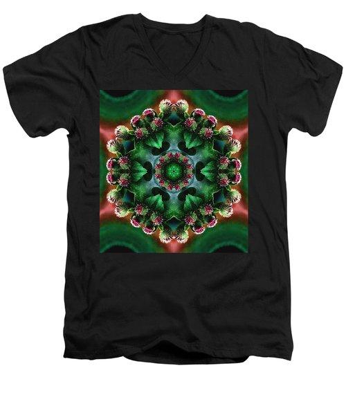 Mandala Bull Thistle Men's V-Neck T-Shirt