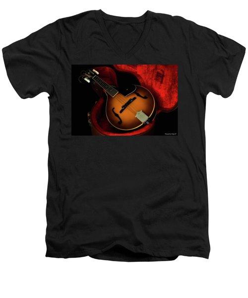 Mandolin Guitar 66661 Men's V-Neck T-Shirt by Kevin Chippindall