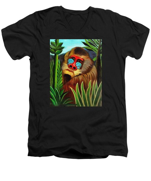 Mandrill In The Jungle Men's V-Neck T-Shirt by Henri Rousseau