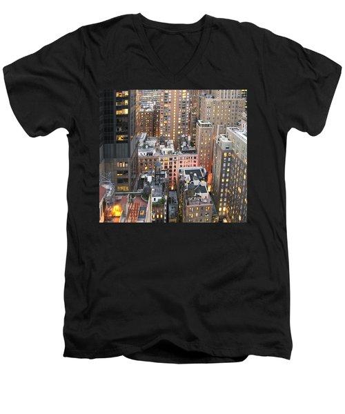 Manhattan At Dusk Men's V-Neck T-Shirt