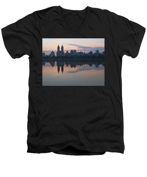 Manhattan At Night  Men's V-Neck T-Shirt by Yvonne Wright