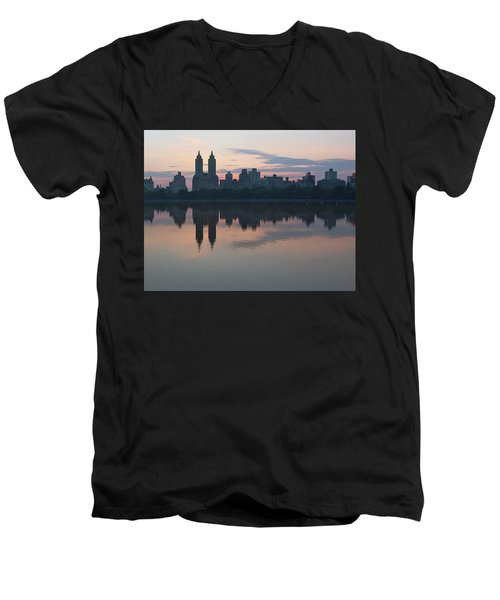 Manhattan At Night  Men's V-Neck T-Shirt
