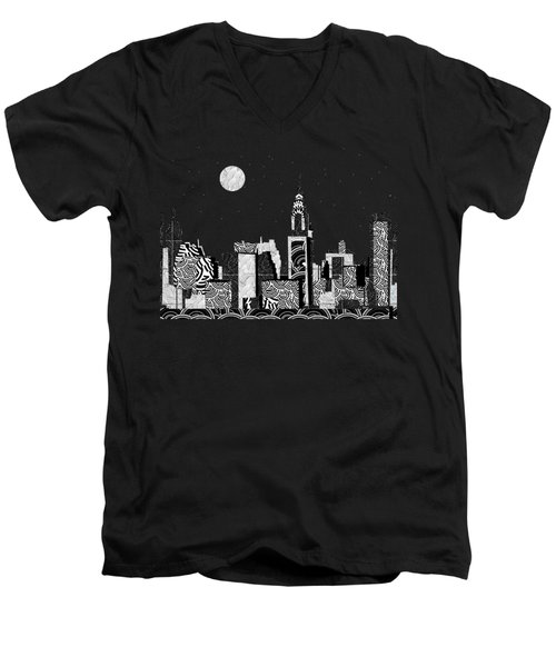 Manhattan At Night New York Swings Men's V-Neck T-Shirt by Cecely Bloom
