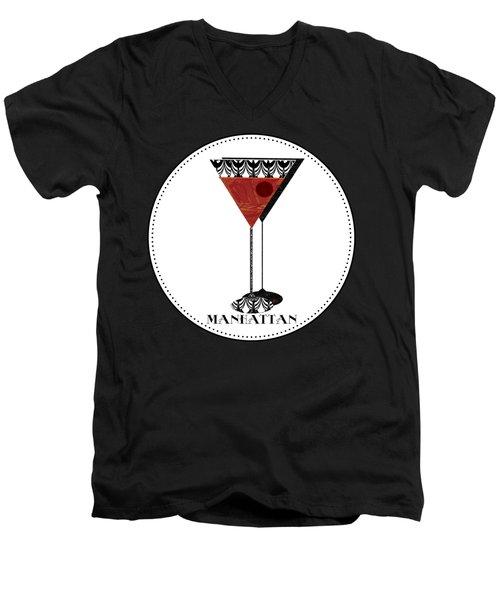 Manhattan Cocktail Pop Art Deco Men's V-Neck T-Shirt by Cecely Bloom