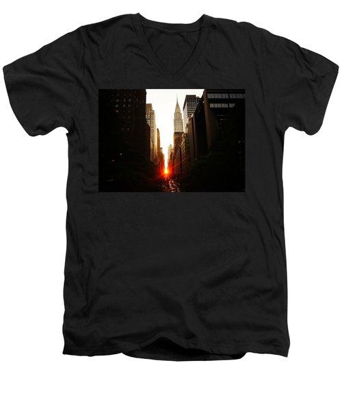 Manhattanhenge Sunset Over The Heart Of New York City Men's V-Neck T-Shirt by Vivienne Gucwa