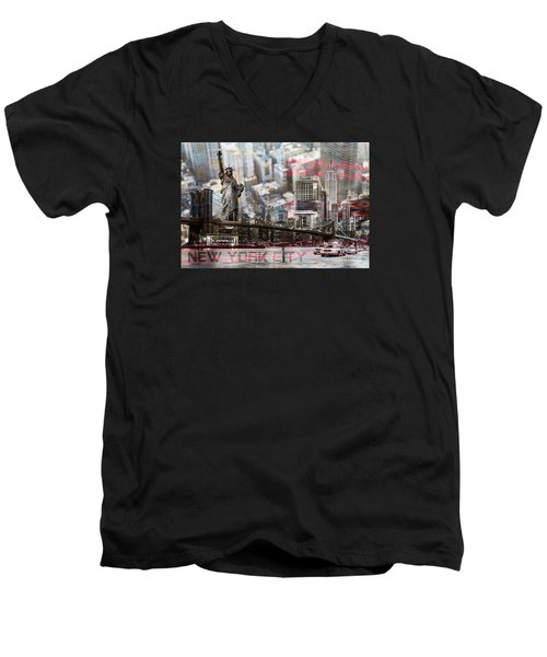 Men's V-Neck T-Shirt featuring the photograph Manhatten From Above by Hannes Cmarits