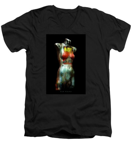 Men's V-Neck T-Shirt featuring the painting Mannequin Graffiti by Kim Gauge