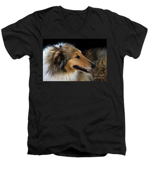 Man's Best Friend Men's V-Neck T-Shirt by Bob Christopher