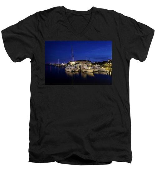 Manteo Waterfront Marina At Night Men's V-Neck T-Shirt
