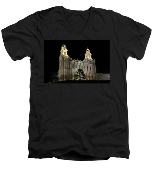 Manti Temple Night Men's V-Neck T-Shirt by David Andersen