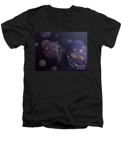 Men's V-Neck T-Shirt featuring the painting Many Worlds by Amyla Silverflame