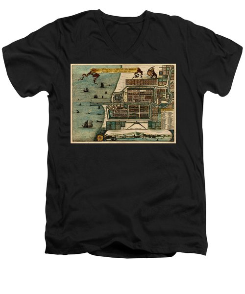 Map Of Java 1669 Men's V-Neck T-Shirt by Andrew Fare