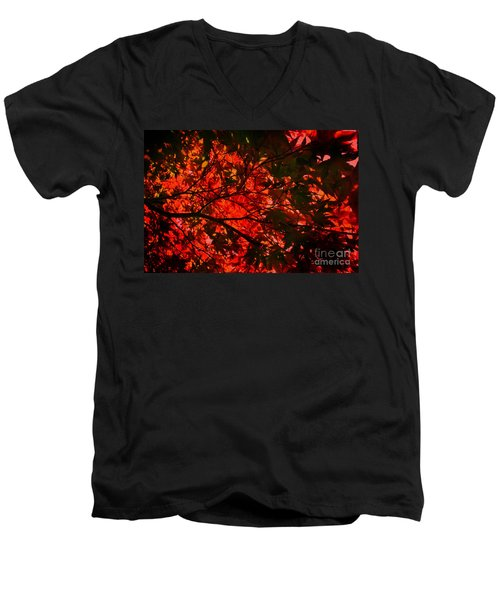 Men's V-Neck T-Shirt featuring the photograph Maple Dance In Red by Paul Cammarata