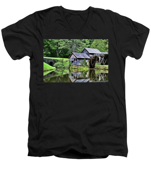 Men's V-Neck T-Shirt featuring the photograph Marby Mill 3 by Paul Ward