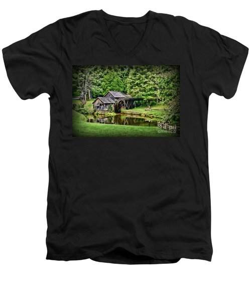 Men's V-Neck T-Shirt featuring the photograph Marby Mill Landscape by Paul Ward