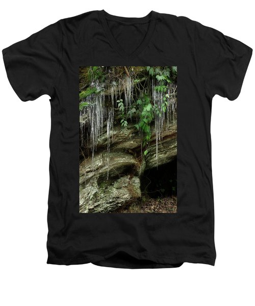 Men's V-Neck T-Shirt featuring the photograph March Icicles 2 by Mike Eingle