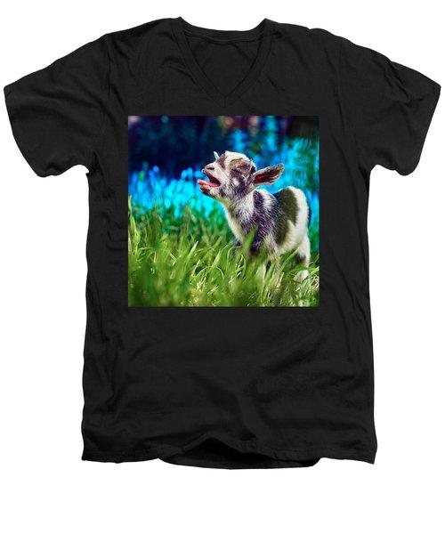 Baby Goat Kid Singing Men's V-Neck T-Shirt