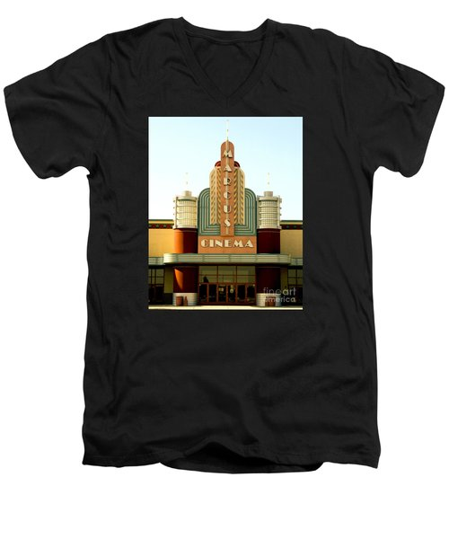 Men's V-Neck T-Shirt featuring the photograph Marcus Renaissance Cinema, Racine Wisconsin  by Ricky L Jones