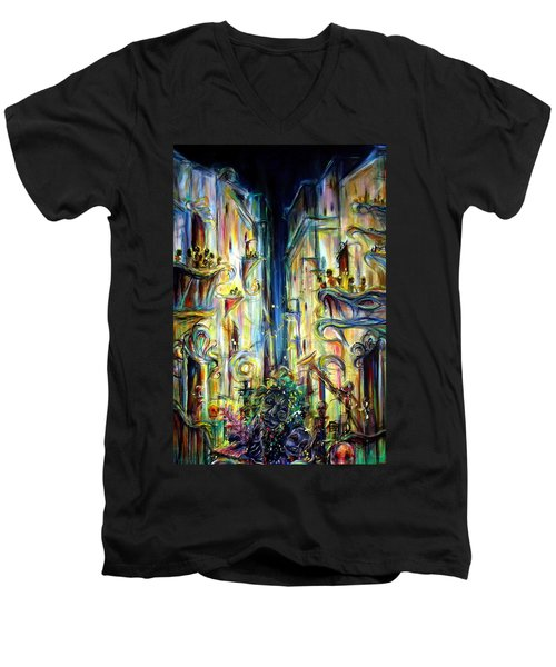 Men's V-Neck T-Shirt featuring the painting Mardi Gras by Heather Calderon