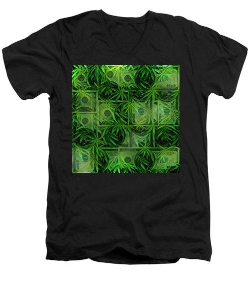 Marijuana Dollars Men's V-Neck T-Shirt