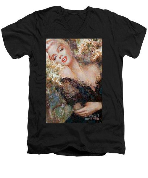 Marilyn Cherry Blossom Men's V-Neck T-Shirt