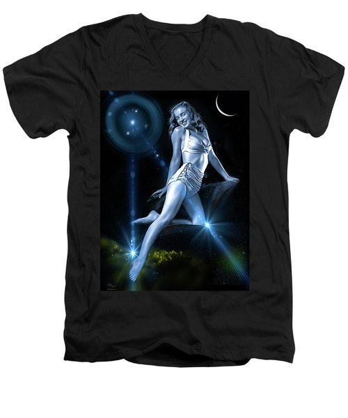 Marilyn Monroe - A Star Was Born Men's V-Neck T-Shirt by Glenn Feron