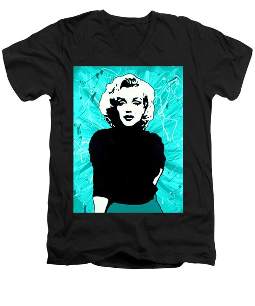 Marilyn Monroe Blue Green Aqua Tint Men's V-Neck T-Shirt by Bob Baker
