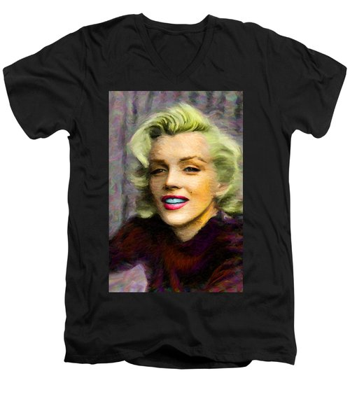 Marilyn Monroe Men's V-Neck T-Shirt by Caito Junqueira