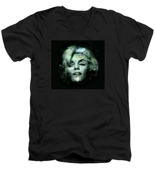 Men's V-Neck T-Shirt featuring the digital art Marilyn Monroe by Kim Gauge