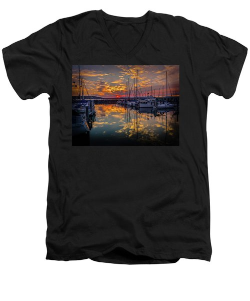 Marina Sunset Men's V-Neck T-Shirt