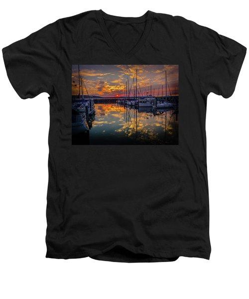 Marina Sunset Men's V-Neck T-Shirt