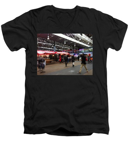Men's V-Neck T-Shirt featuring the photograph Market Movement by Christin Brodie