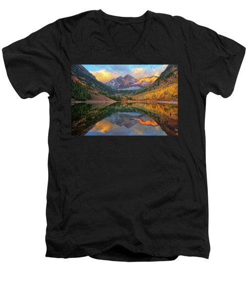 Maroon Bells Autumn Reflections Men's V-Neck T-Shirt by Greg Norrell