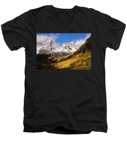 Men's V-Neck T-Shirt featuring the photograph Maroon Bells by Steve Stuller