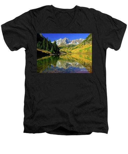 Maroon Lake Autum - 1 Men's V-Neck T-Shirt