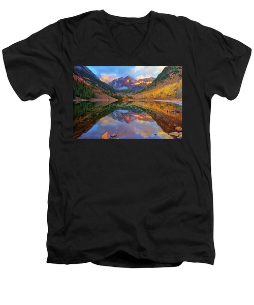 Maroon Lake Dawn Men's V-Neck T-Shirt by Greg Norrell