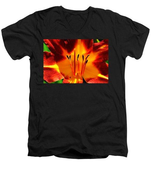 Maroon Lily Men's V-Neck T-Shirt