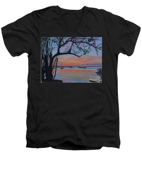 Marsh Harbour At Sunset Men's V-Neck T-Shirt