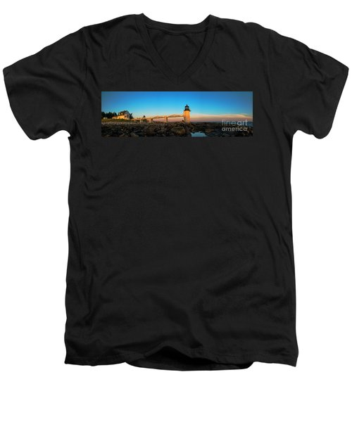 Marshall Point Lighthouse Men's V-Neck T-Shirt by Diane Diederich