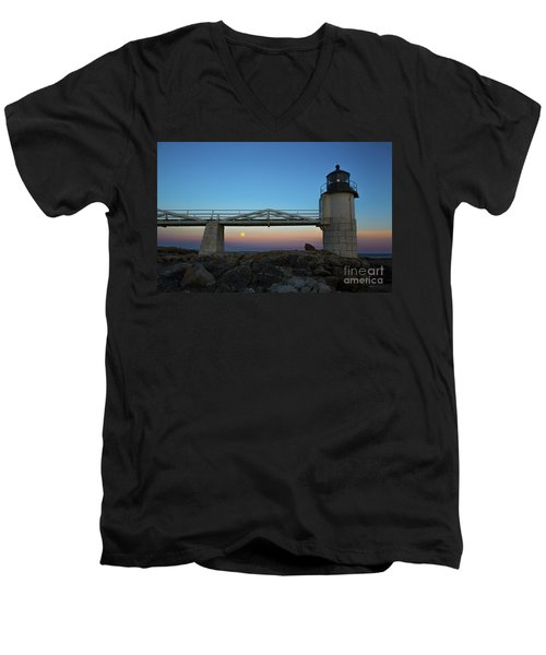 Marshall Point Lighthouse With Full Moon Men's V-Neck T-Shirt by Diane Diederich