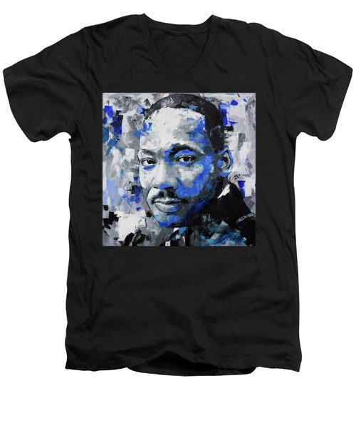 Men's V-Neck T-Shirt featuring the painting Martin Luther King Jr by Richard Day
