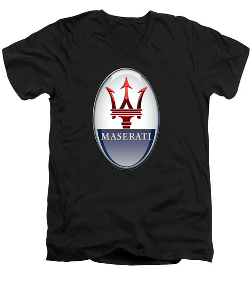 Maserati - 3d Badge On Black Men's V-Neck T-Shirt