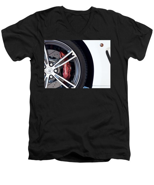 Maserati Wheel White Men's V-Neck T-Shirt