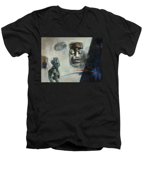 Symbol Mask Painting -02 Men's V-Neck T-Shirt by Behzad Sohrabi