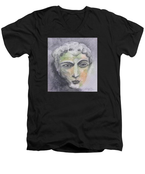 Men's V-Neck T-Shirt featuring the painting Mask II by Teresa Beyer