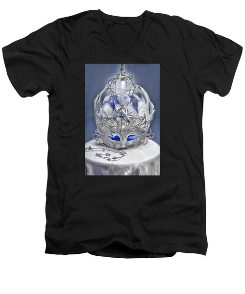 Mask Still Life Blue Men's V-Neck T-Shirt