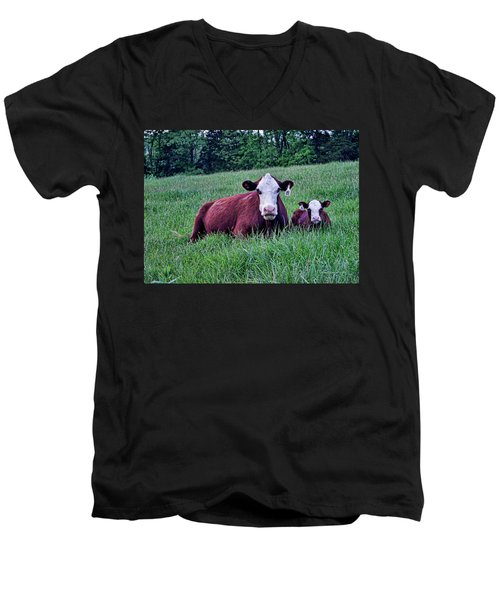 Men's V-Neck T-Shirt featuring the photograph Matched Set by Cricket Hackmann