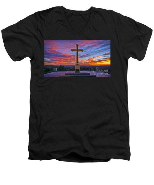 Christian Cross And Amazing Sunset Men's V-Neck T-Shirt by Sam Antonio Photography