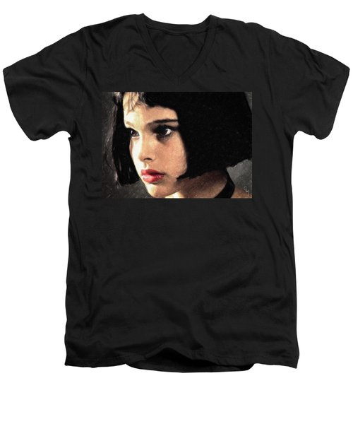 Men's V-Neck T-Shirt featuring the painting Mathilda by Taylan Apukovska
